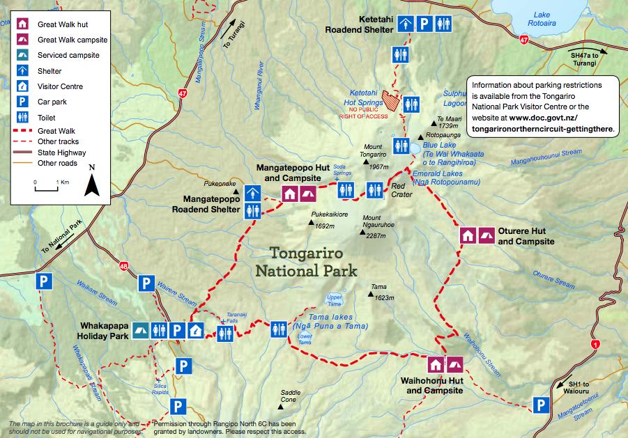 carte de l'itinéraire du circuit tongariro northern circuit en nouvelle zélande