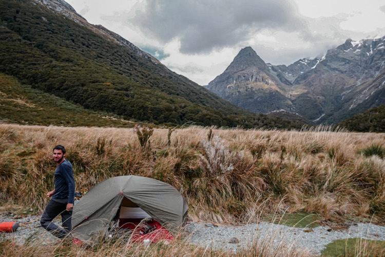 Bivouac pendant notre trek des Five Passes dans le Mount Aspiring National Park